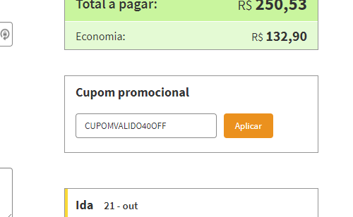 6146bdb1a Cupom de Desconto 123 MILHAS → Ganhe R 25 até R 40 (SÓ HOJE)